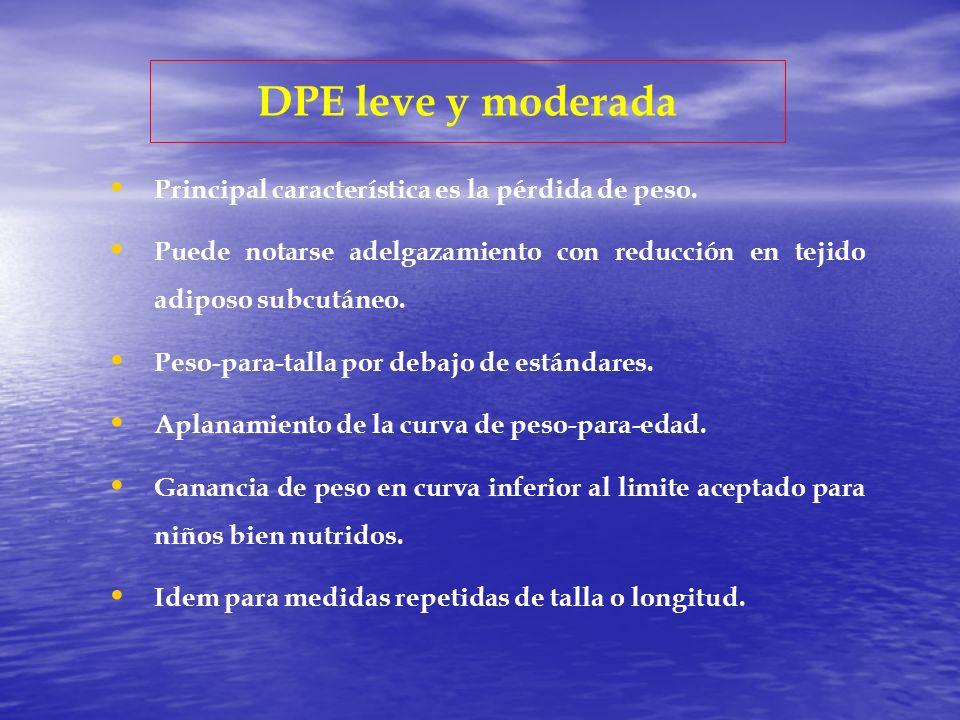 DPE leve y moderada Principal característica es la pérdida de peso.