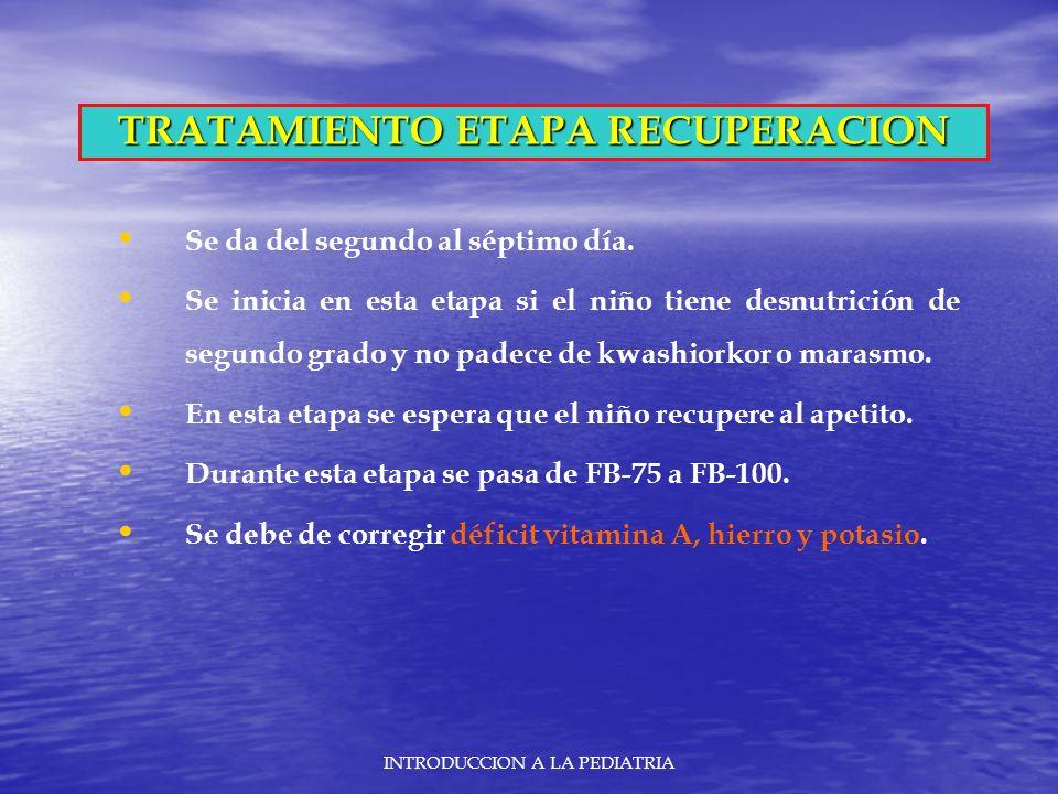 TRATAMIENTO ETAPA RECUPERACION