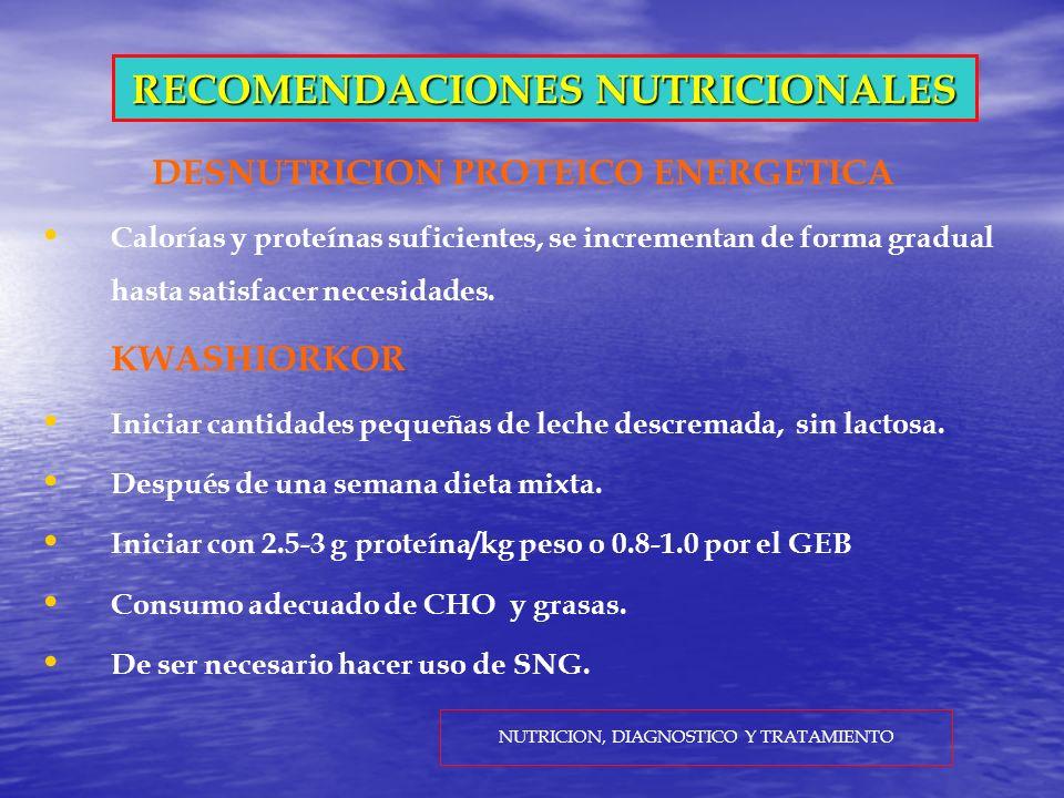RECOMENDACIONES NUTRICIONALES DESNUTRICION PROTEICO ENERGETICA