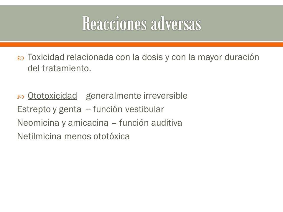 Reacciones adversas Toxicidad relacionada con la dosis y con la mayor duración del tratamiento. Ototoxicidad generalmente irreversible.
