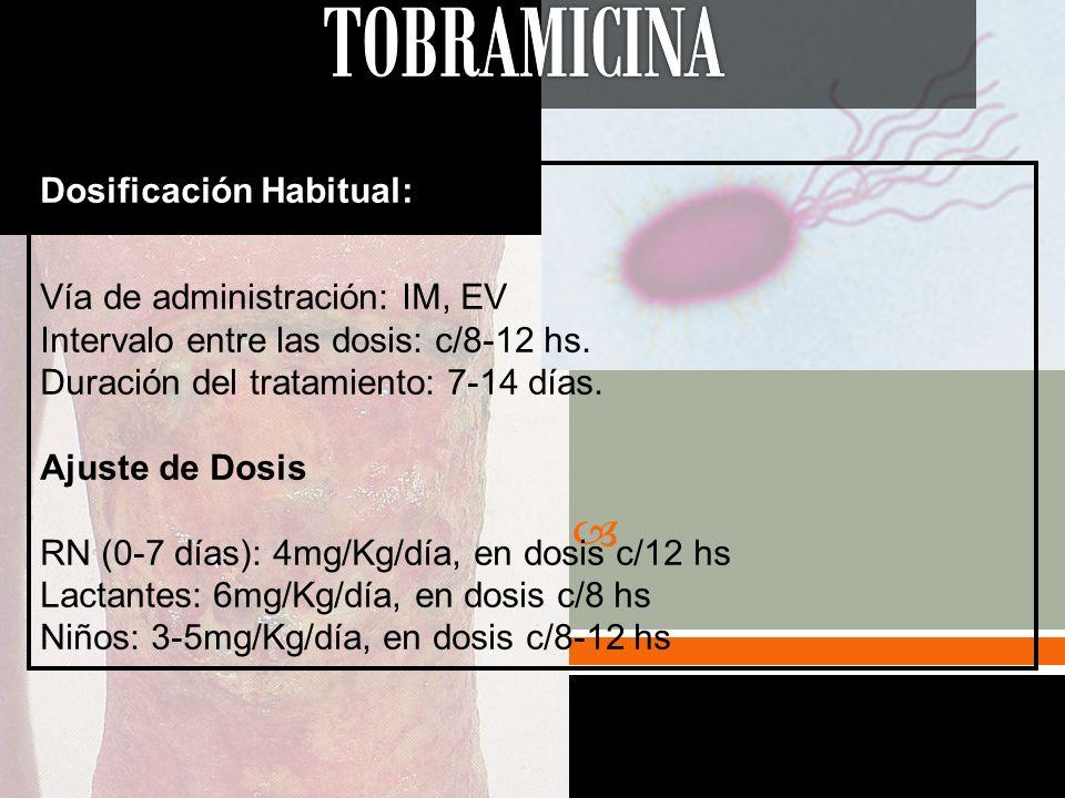TOBRAMICINA Dosificación Habitual: Vía de administración: IM, EV