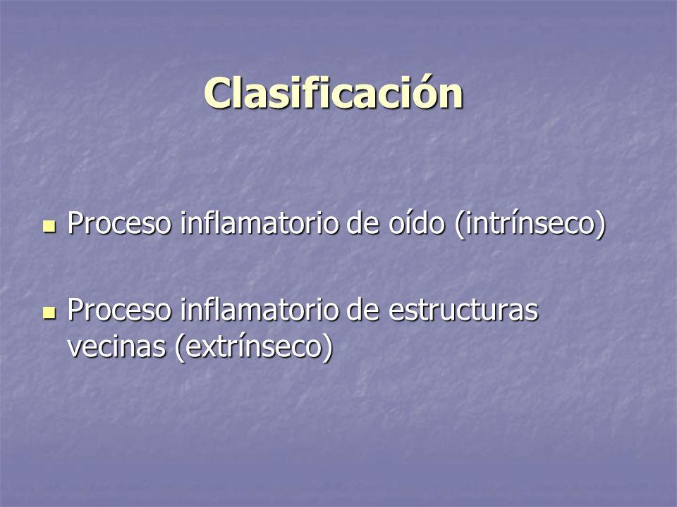 Clasificación Proceso inflamatorio de oído (intrínseco)