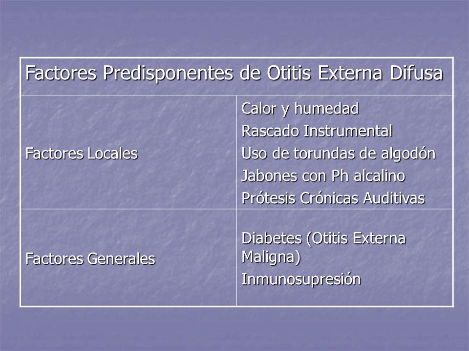Factores Predisponentes de Otitis Externa Difusa