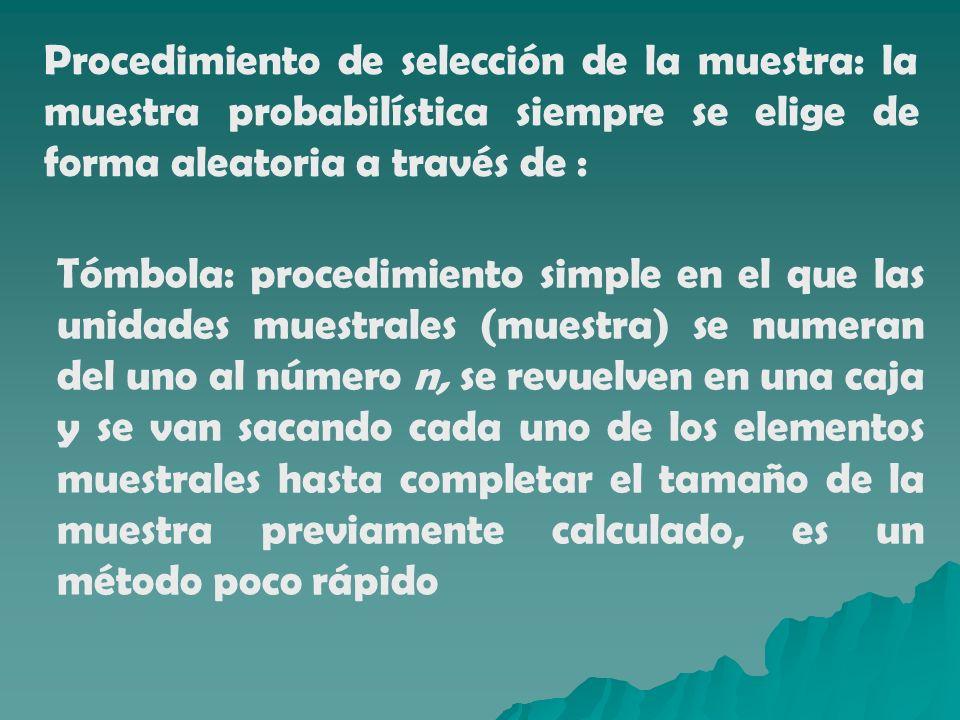 Procedimiento de selección de la muestra: la muestra probabilística siempre se elige de forma aleatoria a través de :