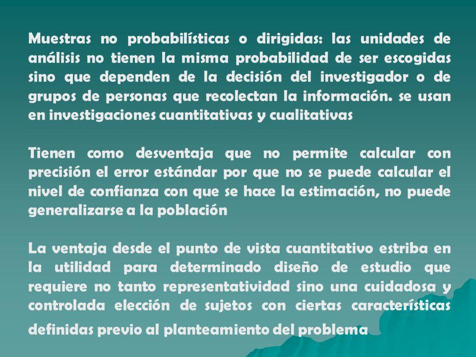 Muestras no probabilísticas o dirigidas: las unidades de análisis no tienen la misma probabilidad de ser escogidas sino que dependen de la decisión del investigador o de grupos de personas que recolectan la información. se usan en investigaciones cuantitativas y cualitativas