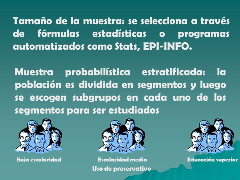 Tamaño de la muestra: se selecciona a través de fórmulas estadísticas o programas automatizados como Stats, EPI-INFO.