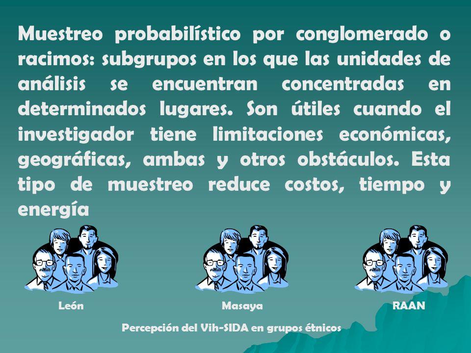 Muestreo probabilístico por conglomerado o racimos: subgrupos en los que las unidades de análisis se encuentran concentradas en determinados lugares. Son útiles cuando el investigador tiene limitaciones económicas, geográficas, ambas y otros obstáculos. Esta tipo de muestreo reduce costos, tiempo y energía
