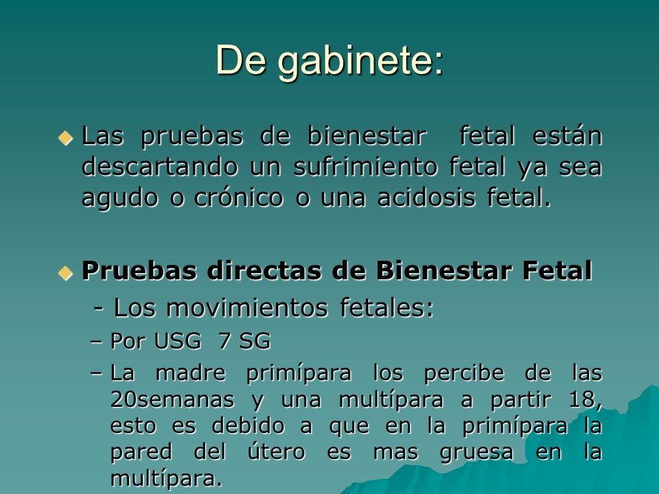 De gabinete:Las pruebas de bienestar fetal están descartando un sufrimiento fetal ya sea agudo o crónico o una acidosis fetal.