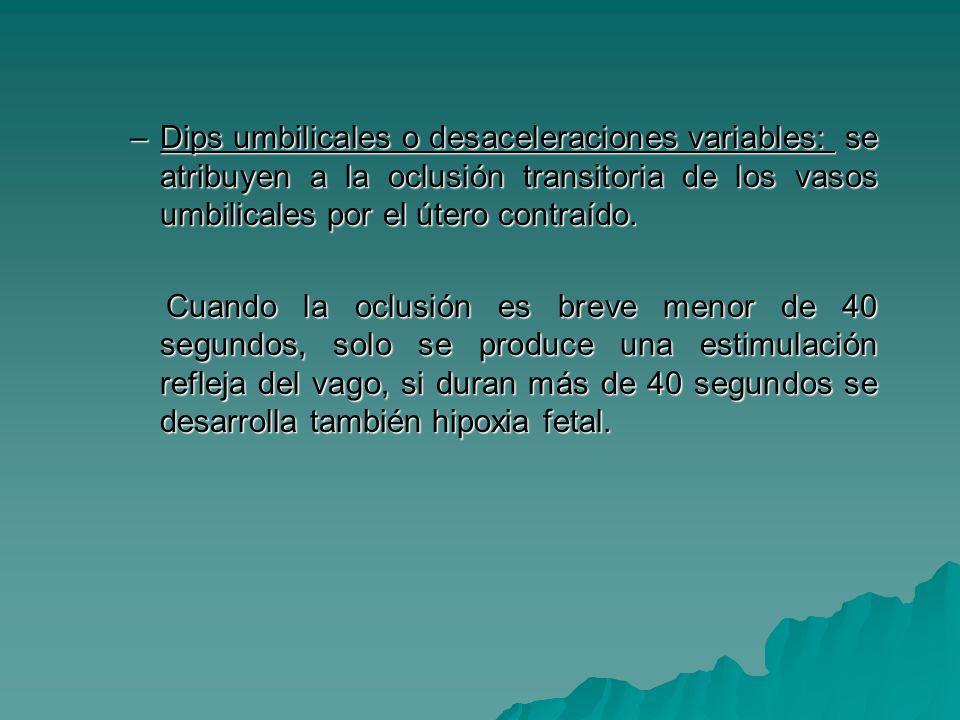 Dips umbilicales o desaceleraciones variables: se atribuyen a la oclusión transitoria de los vasos umbilicales por el útero contraído.