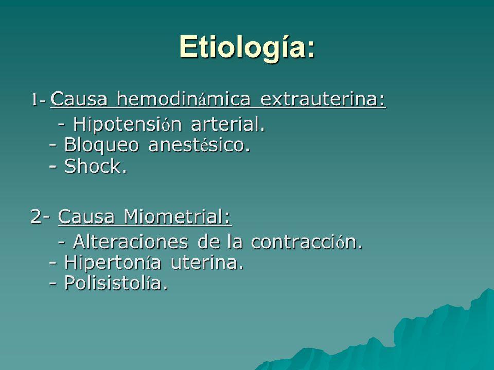 Etiología: 1- Causa hemodinámica extrauterina: