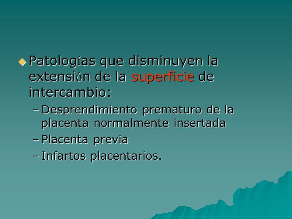 Patologías que disminuyen la extensión de la superficie de intercambio: