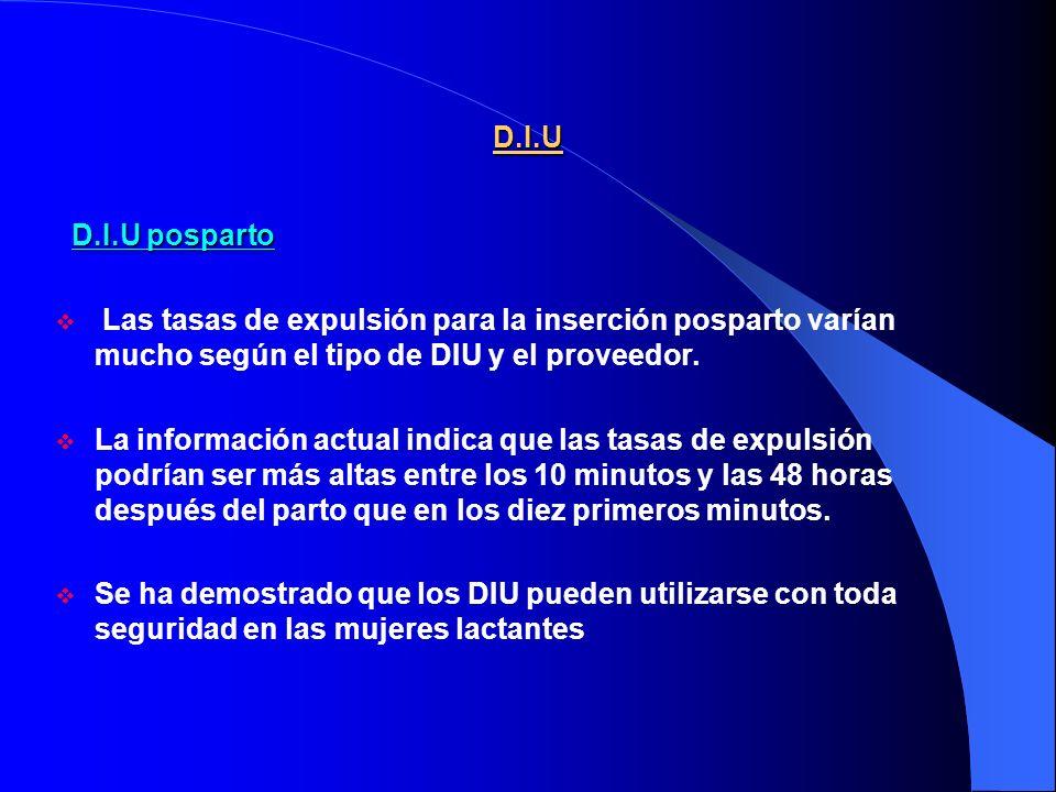 D.I.U D.I.U posparto. Las tasas de expulsión para la inserción posparto varían mucho según el tipo de DIU y el proveedor.