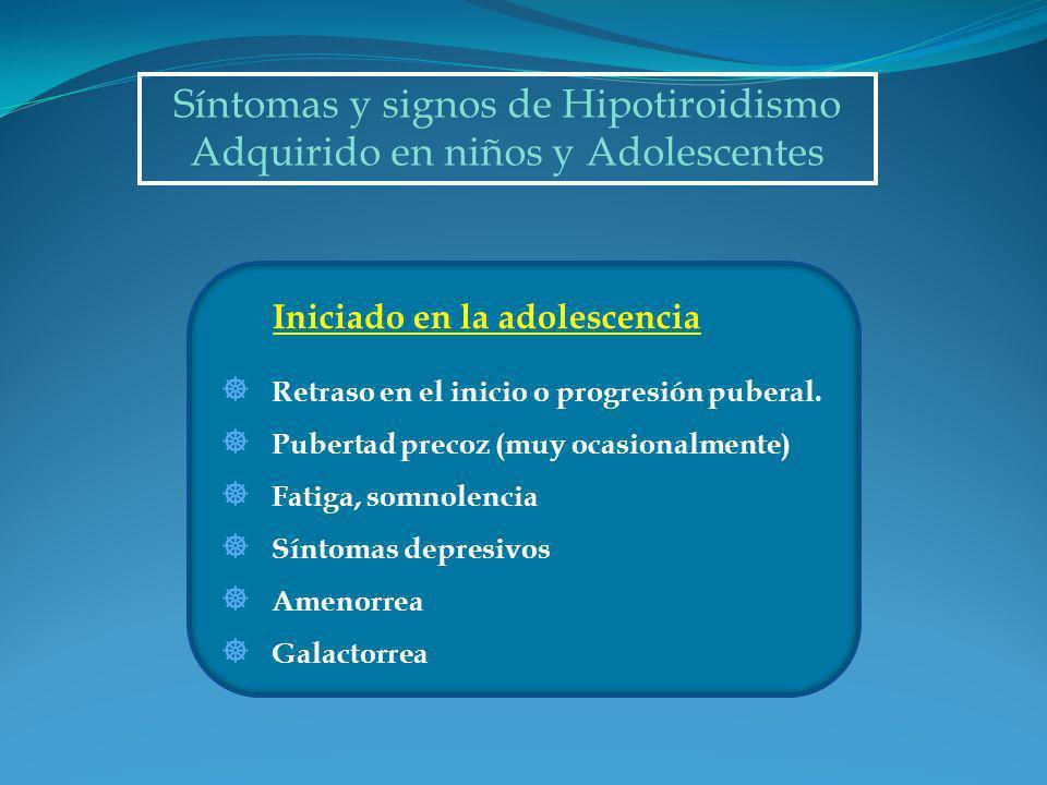 Síntomas y signos de Hipotiroidismo Adquirido en niños y Adolescentes