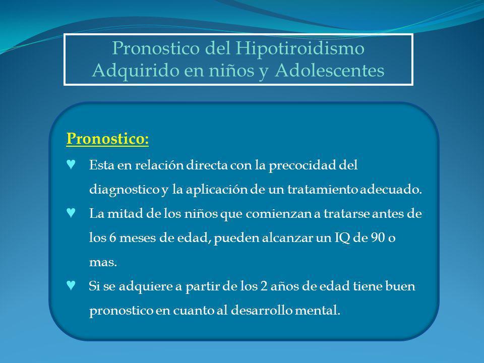 Pronostico del Hipotiroidismo Adquirido en niños y Adolescentes
