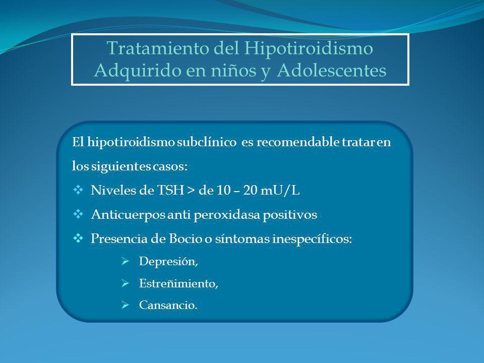 Tratamiento del Hipotiroidismo Adquirido en niños y Adolescentes