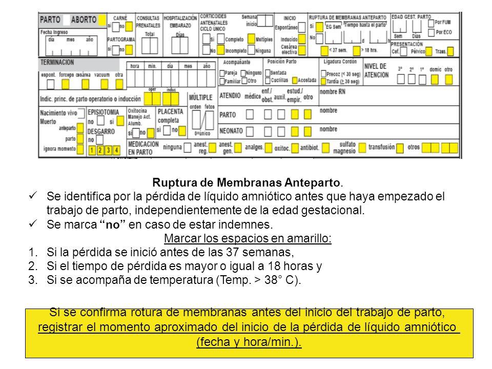 Ruptura de Membranas Anteparto.