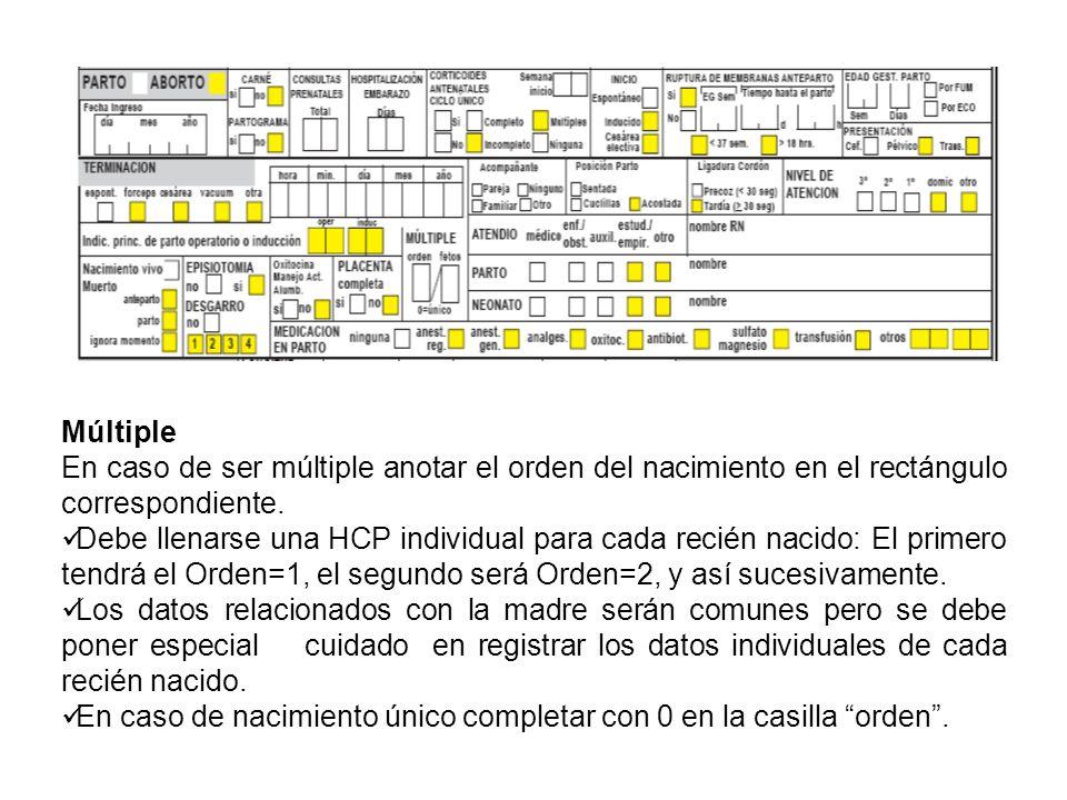 Múltiple En caso de ser múltiple anotar el orden del nacimiento en el rectángulo correspondiente.