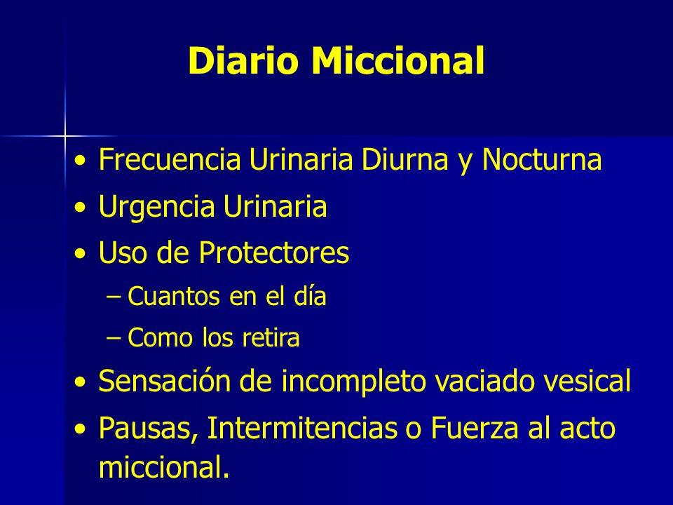 Diario Miccional Frecuencia Urinaria Diurna y Nocturna