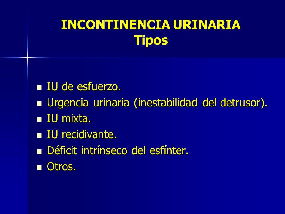INCONTINENCIA URINARIA Tipos