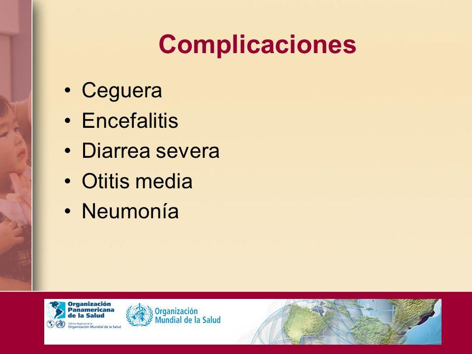 Complicaciones Ceguera Encefalitis Diarrea severa Otitis media
