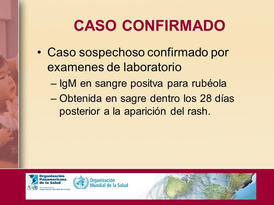 CASO CONFIRMADO Caso sospechoso confirmado por examenes de laboratorio