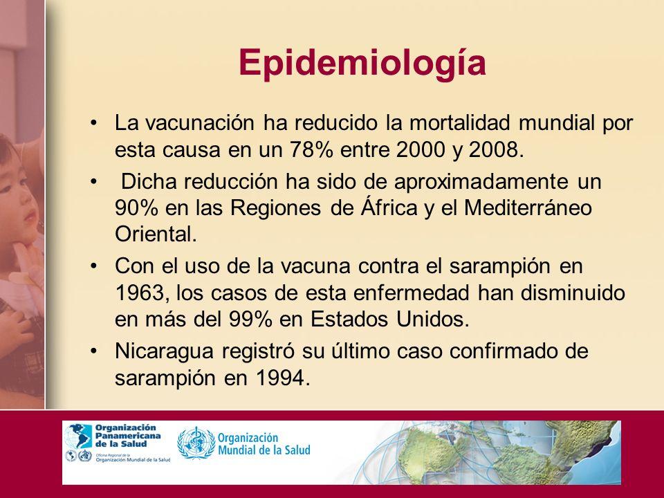Epidemiología La vacunación ha reducido la mortalidad mundial por esta causa en un 78% entre 2000 y 2008.
