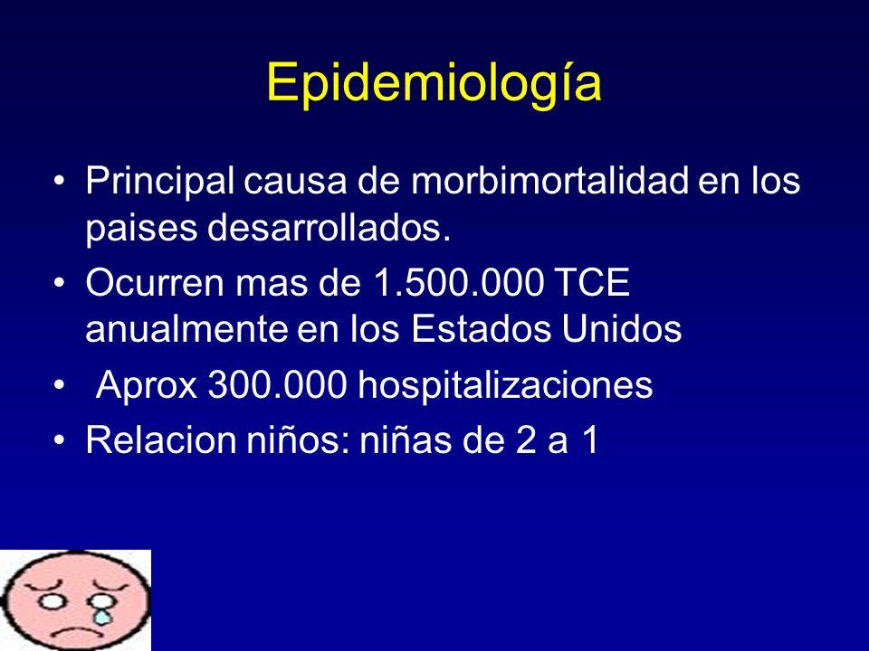 Epidemiología Principal causa de morbimortalidad en los paises desarrollados. Ocurren mas de 1.500.000 TCE anualmente en los Estados Unidos.