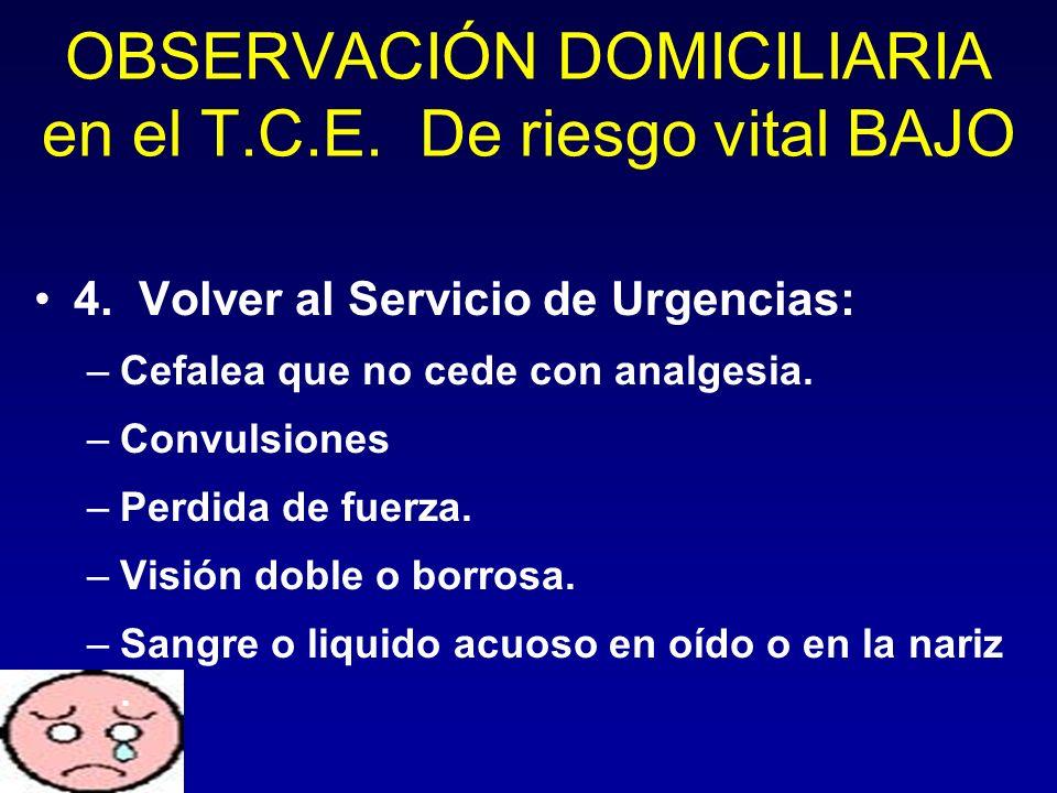 OBSERVACIÓN DOMICILIARIA en el T.C.E. De riesgo vital BAJO