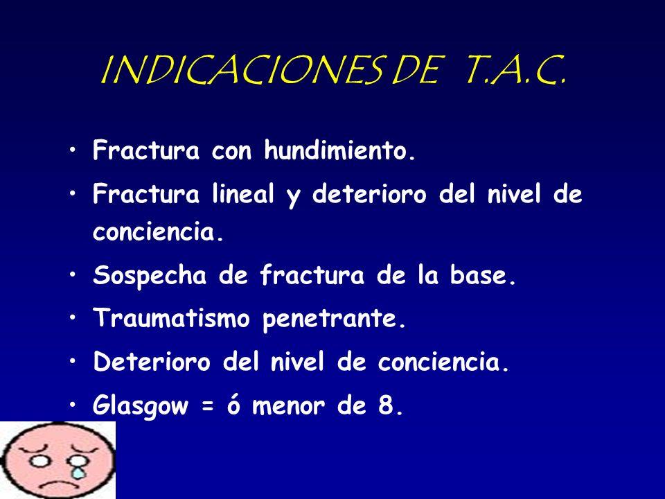 INDICACIONES DE T.A.C. Fractura con hundimiento.