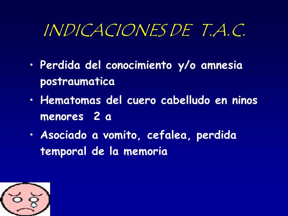INDICACIONES DE T.A.C. Perdida del conocimiento y/o amnesia postraumatica. Hematomas del cuero cabelludo en ninos menores 2 a.