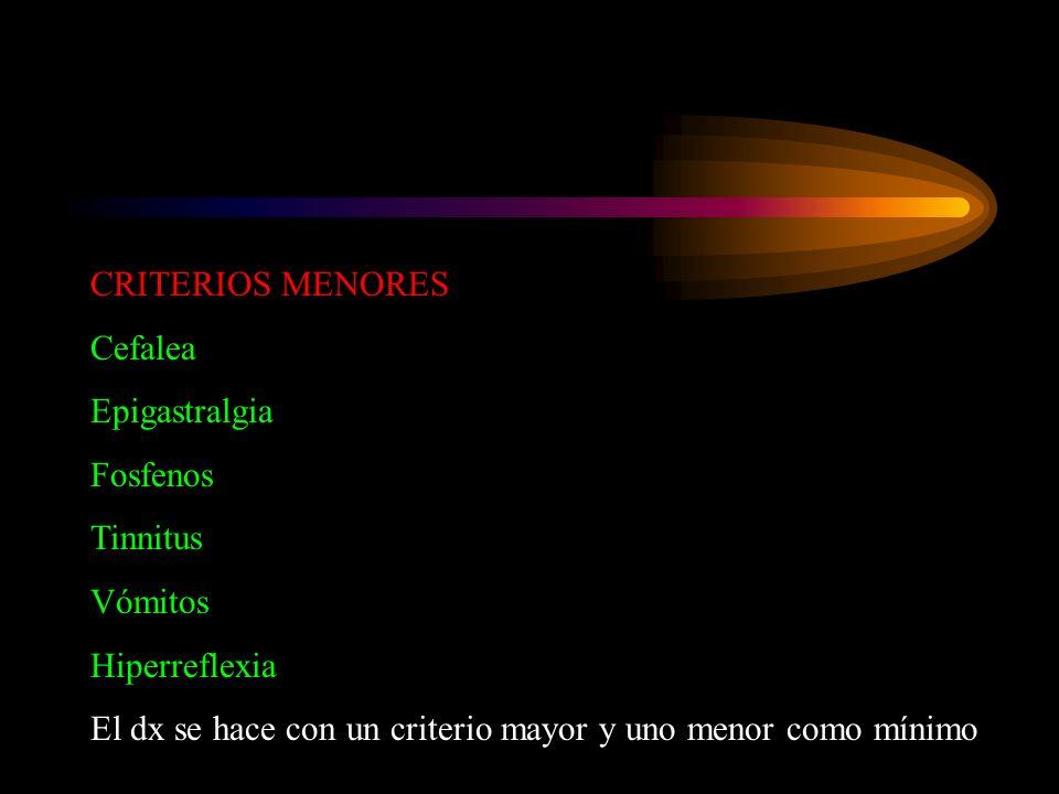 CRITERIOS MENORES Cefalea. Epigastralgia. Fosfenos. Tinnitus. Vómitos. Hiperreflexia.