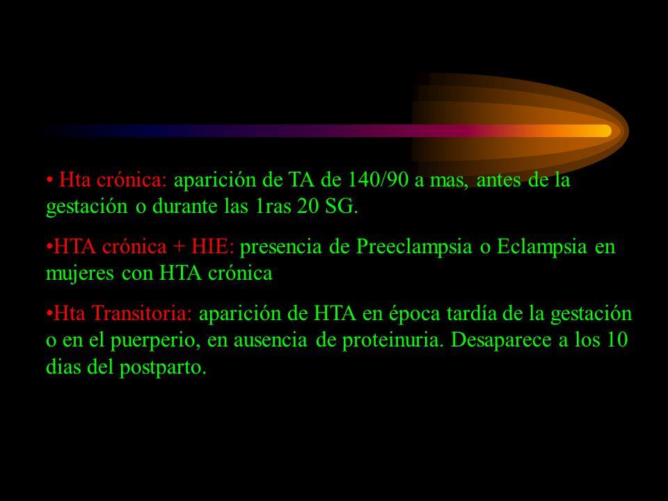 Hta crónica: aparición de TA de 140/90 a mas, antes de la gestación o durante las 1ras 20 SG.