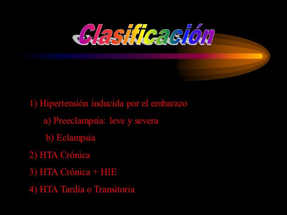 Clasificación 1) Hipertensión inducida por el embarazo
