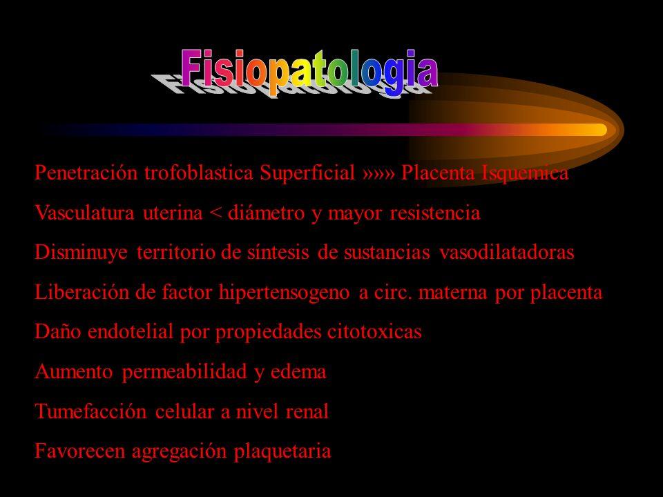 Fisiopatologia Penetración trofoblastica Superficial »»» Placenta Isquemica. Vasculatura uterina < diámetro y mayor resistencia.