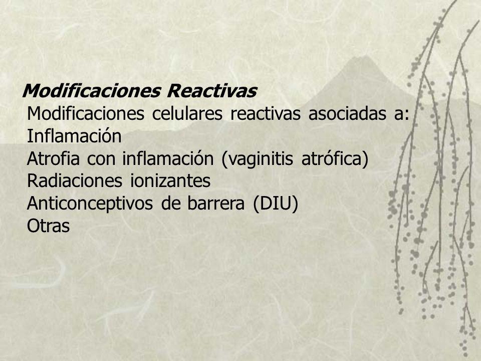 Modificaciones Reactivas Modificaciones celulares reactivas asociadas a: Inflamación Atrofia con inflamación (vaginitis atrófica) Radiaciones ionizantes Anticonceptivos de barrera (DIU) Otras