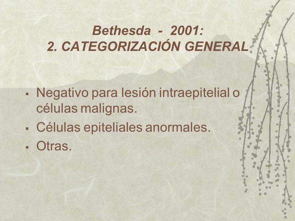 Bethesda - 2001: 2. CATEGORIZACIÓN GENERAL