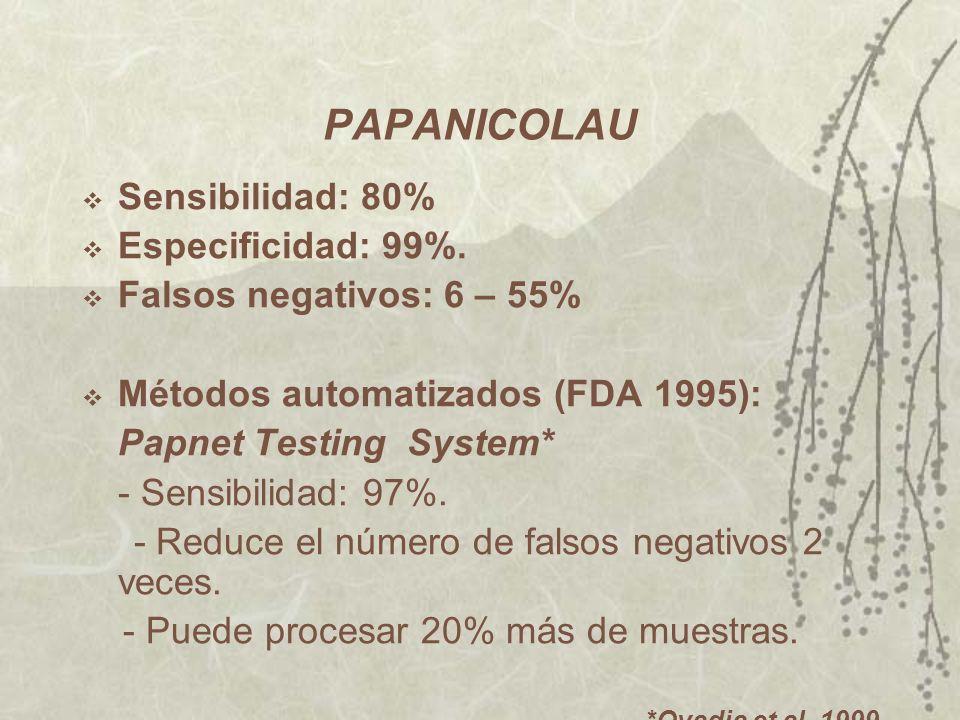 PAPANICOLAU Sensibilidad: 80% Especificidad: 99%.
