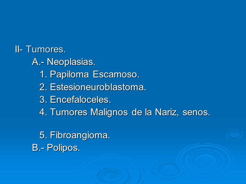 II- Tumores. A.- Neoplasias. 1. Papiloma Escamoso. 2. Estesioneuroblastoma. 3. Encefaloceles. 4. Tumores Malignos de la Nariz, senos.