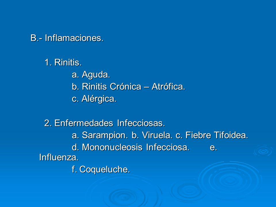 B.- Inflamaciones. 1. Rinitis. a. Aguda. b. Rinitis Crónica – Atrófica. c. Alérgica. 2. Enfermedades Infecciosas.