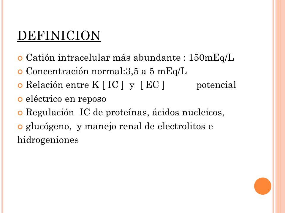 DEFINICION Catión intracelular más abundante : 150mEq/L