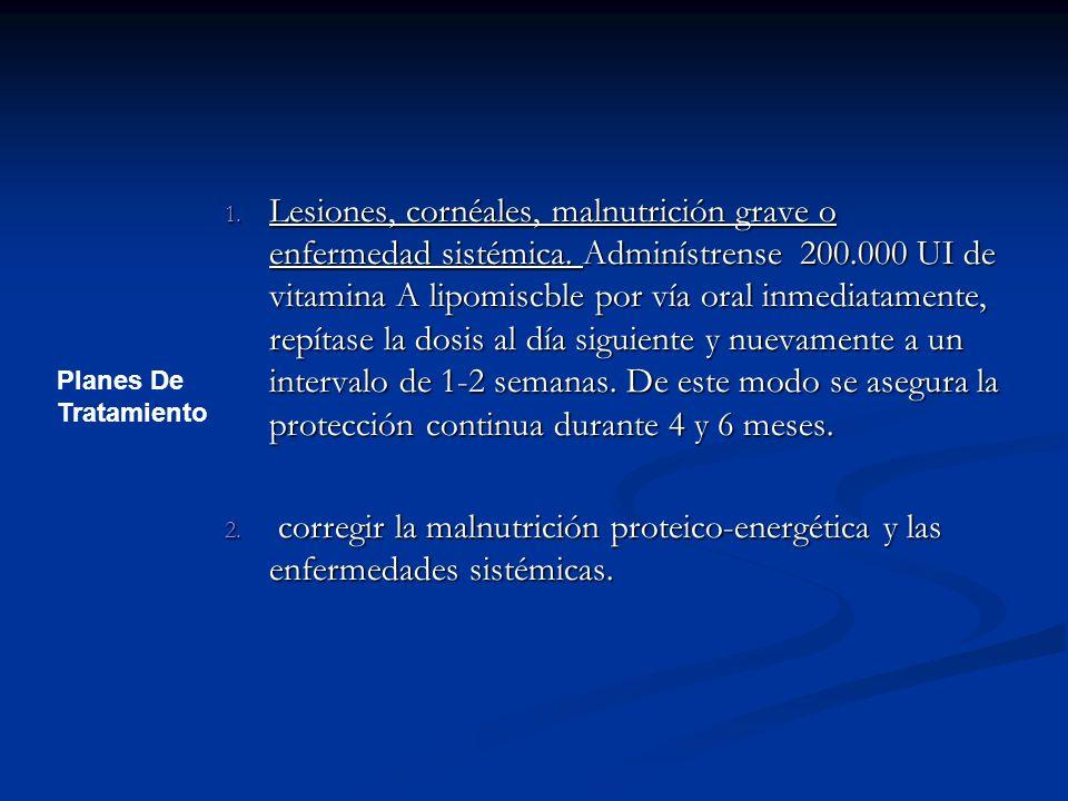 Lesiones, cornéales, malnutrición grave o enfermedad sistémica