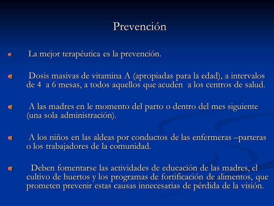 Prevención La mejor terapéutica es la prevención.