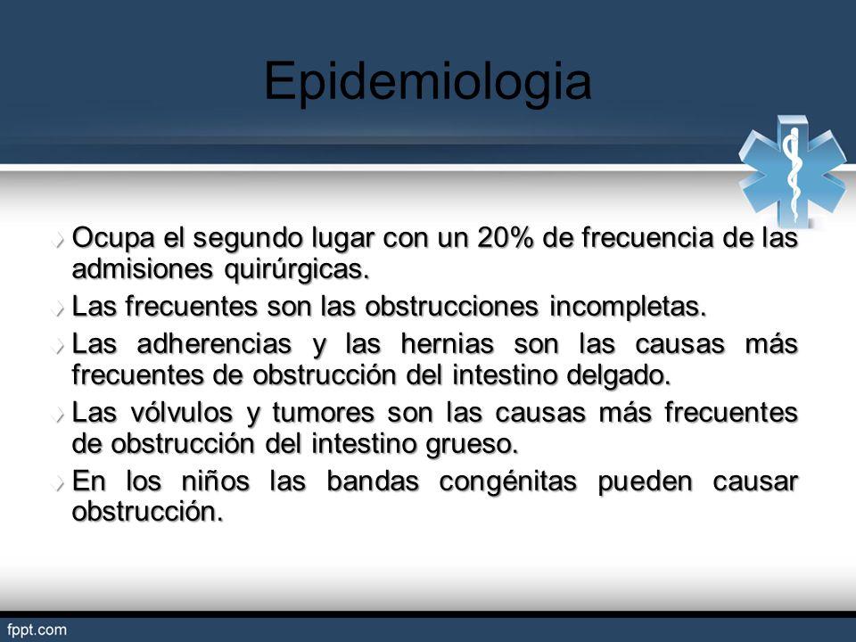 Epidemiologia Ocupa el segundo lugar con un 20% de frecuencia de las admisiones quirúrgicas. Las frecuentes son las obstrucciones incompletas.