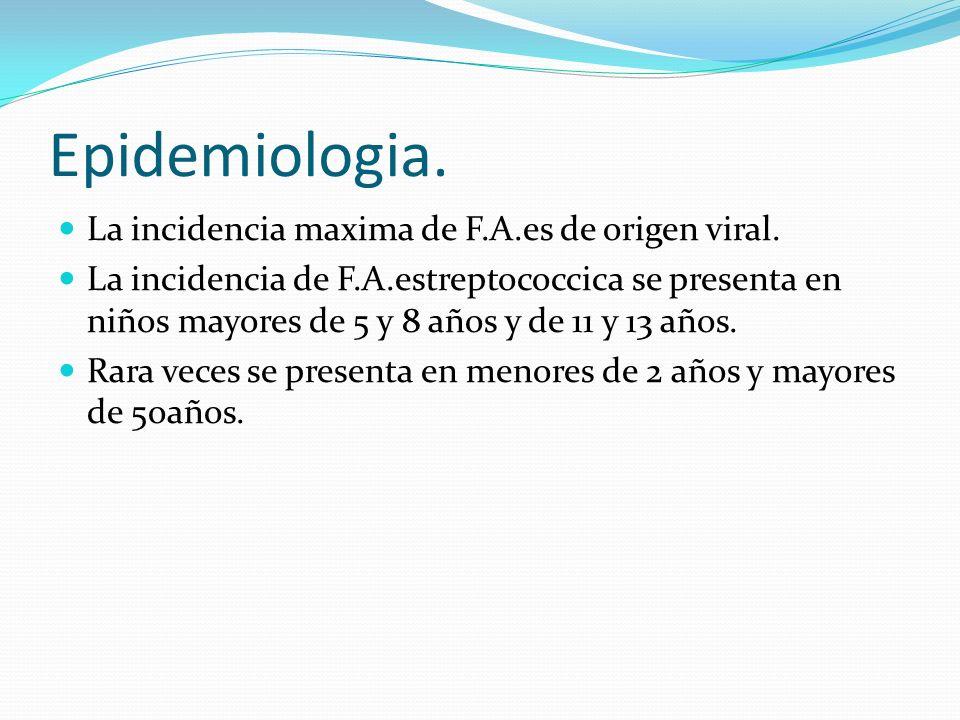 Epidemiologia. La incidencia maxima de F.A.es de origen viral.