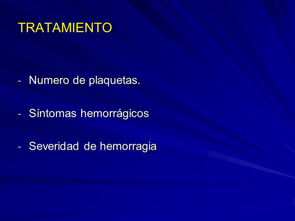 TRATAMIENTO Numero de plaquetas. Síntomas hemorrágicos