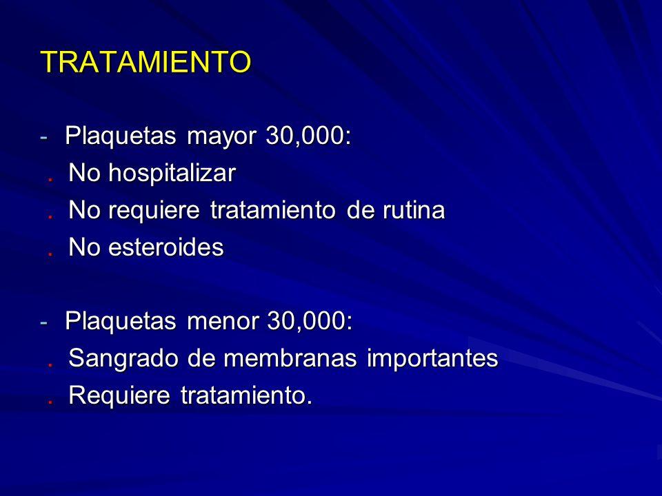 TRATAMIENTO Plaquetas mayor 30,000: . No hospitalizar