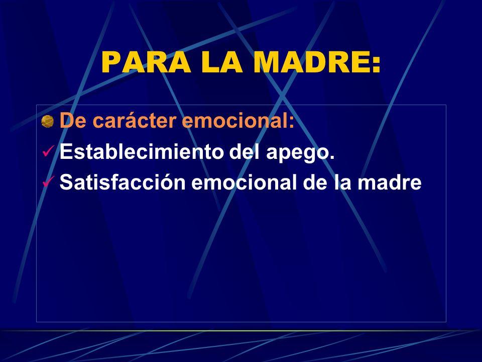 PARA LA MADRE: De carácter emocional: Establecimiento del apego.