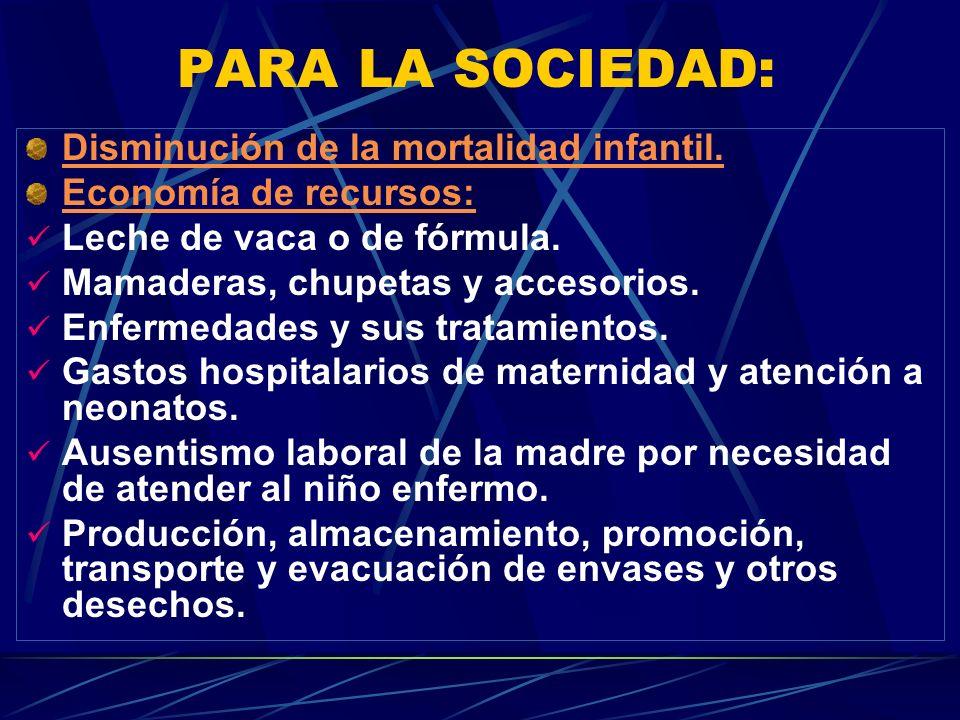 PARA LA SOCIEDAD: Disminución de la mortalidad infantil.