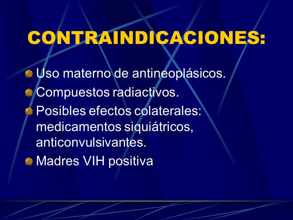 CONTRAINDICACIONES: Uso materno de antineoplásicos.