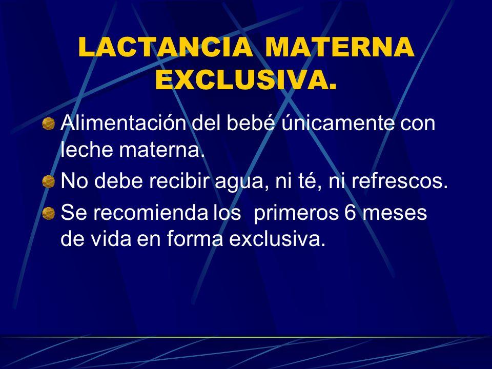 LACTANCIA MATERNA EXCLUSIVA.